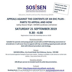 Workshop - Appeals against the contents of an EHC plan