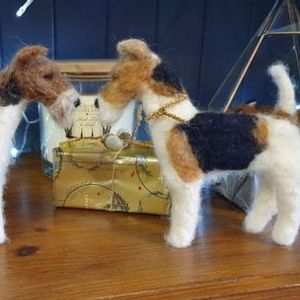 Socially distanced needle felted terrier workshop