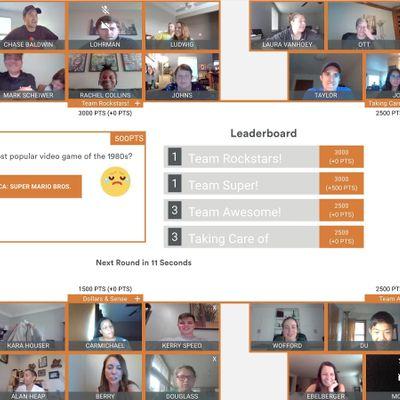 Arlington Virtual Game Night Trivia Charades and Drawing over Video