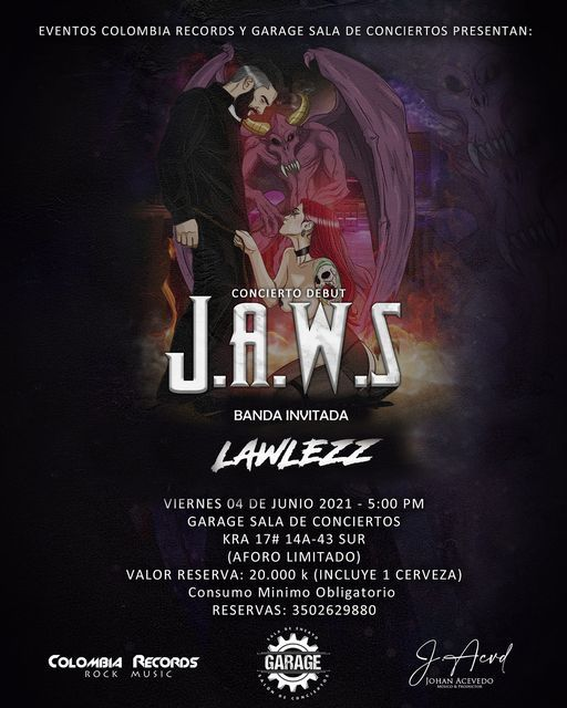 CONCIERTO DEBUT JAWS, 4 June | Event in Bogotá | AllEvents.in