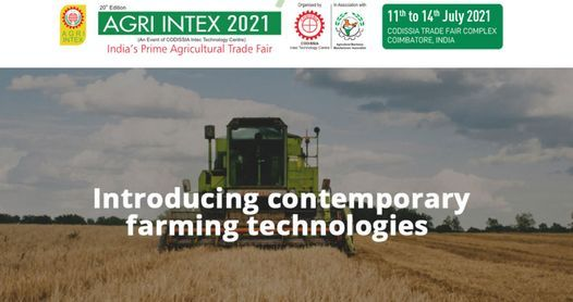 AGRI INTEX 2021, 11 July | Event in Coimbatore | AllEvents.in