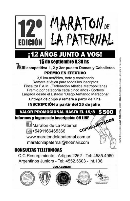 12 Maraton de la Paternal La Paternal - Bs As (35 y 7 Km)
