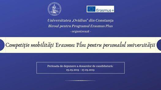 Competiie mobiliti Erasmus pentru personalul universitii