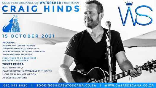 Watershed, Solo show of frontman Craig Hinds, 15 October   Event in Pretoria   AllEvents.in
