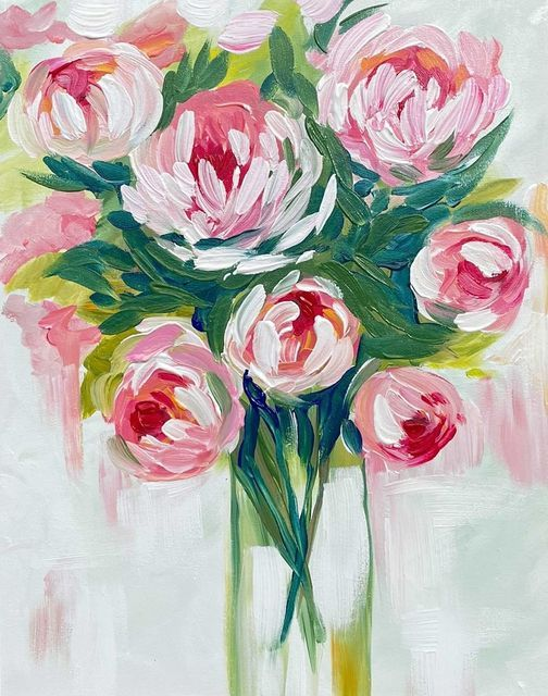 Paint and Wine Night - Peony Bouquet, 9 November   Event in Christchurch   AllEvents.in