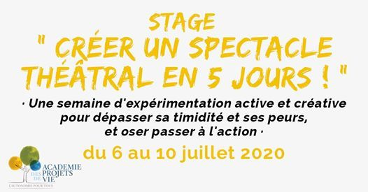 Stage Crer un spectacle thtral en 5 jours