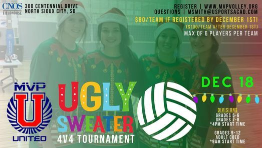 4 vs 4 Ugly Sweater Volleyball Tournament, 18 December   Online Event   AllEvents.in
