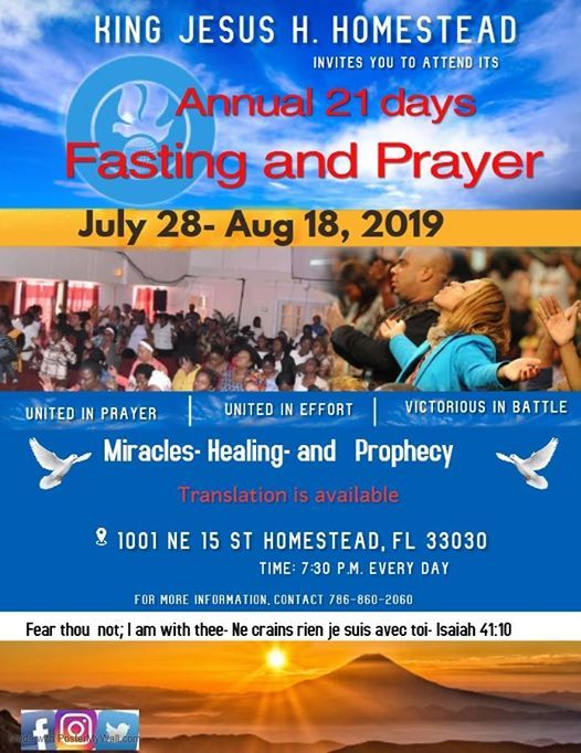 21 days of Fasting and Prayer at Homestead, Florida, Homestead