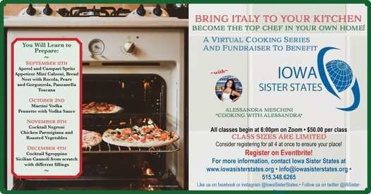 Iowa Sister States Italian Cooking Classes Fundraiser, 5 December   Online Event   AllEvents.in