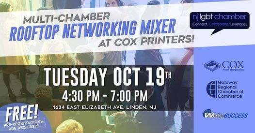 Multi-Chamber Rooftop Networking Mixer at Cox Printers!, 19 October | Event in Elizabeth | AllEvents.in