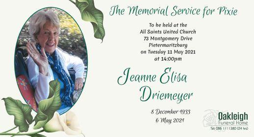 Memorial Service for Pixie | Event in Pietermaritzburg | AllEvents.in