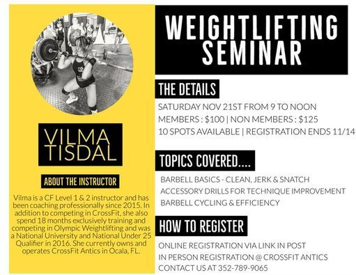 Weightlifting Seminar 2020, 21 November | Event in Ocala | AllEvents.in