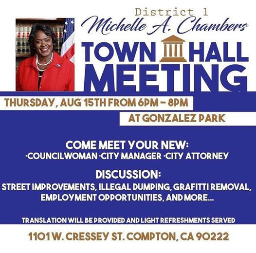District 1 Town Hall meeting at Gonzales Park, Compton