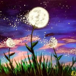 Dandelions in the Wind Painting at Wine & Canvas Paint & Sip