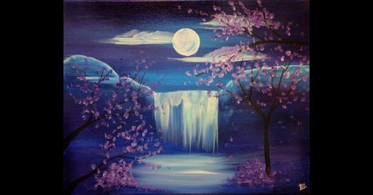 Midnight Waterfall Painting At Wine Canvas Studio Paint Sip Wine And Canvas Las Vegas Henderson July 24 2021 Allevents In