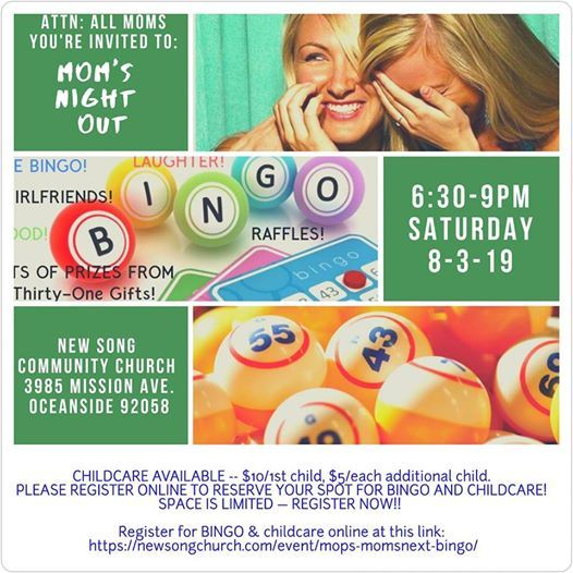 Moms Night Out- Bingo Night at New Song Community Church, Oceanside