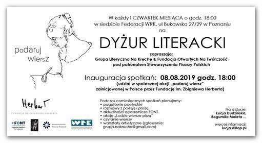 Dyżur Literacki Akcja Podaruj Wiersz At Centrum Bukowska
