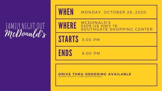 Family Night Out - McDonald's, 26 October | Event in New Port Richey | AllEvents.in