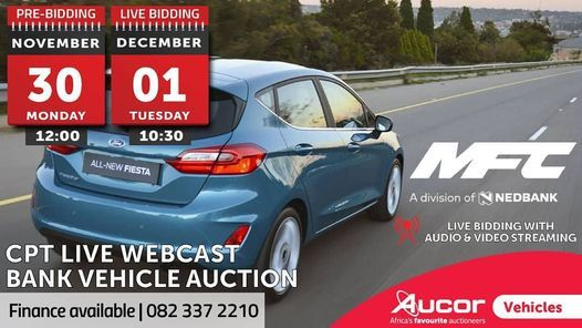 CPT LIVE WEBCAST BANK VEHICLE AUCTION, 30 November | Online Event | AllEvents.in