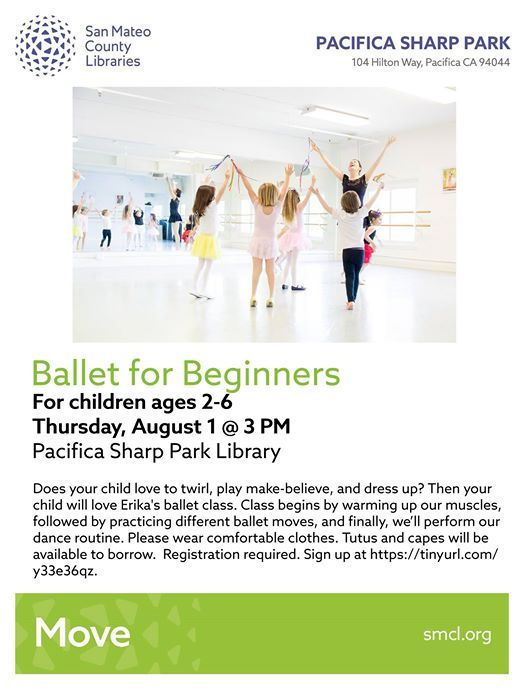 Ballet for Beginners at Pacifica Sharp Park Library, Pacifica