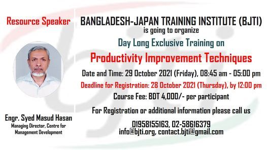 Productivity Improvement Techniques, 29 October   Event in Dhaka   AllEvents.in