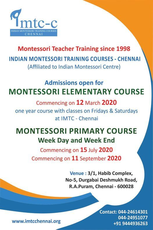 750 hrs Montessori Elementary Course - Starts from 12032020