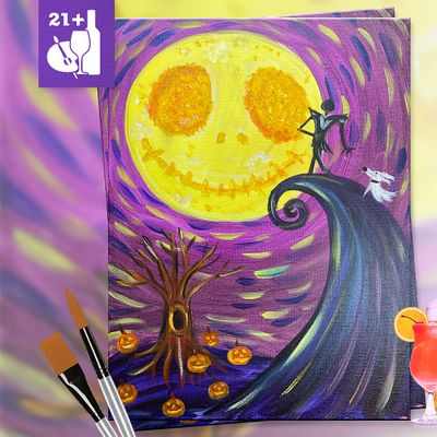 Paint and Sip in Downtown Riverside CA  This is Halloween at El Patron