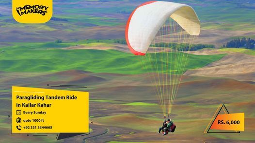 Enjoy Tandem Paragliding in Kallar Kahar with Dè Memory Makers. | Event in Lahore | AllEvents.in