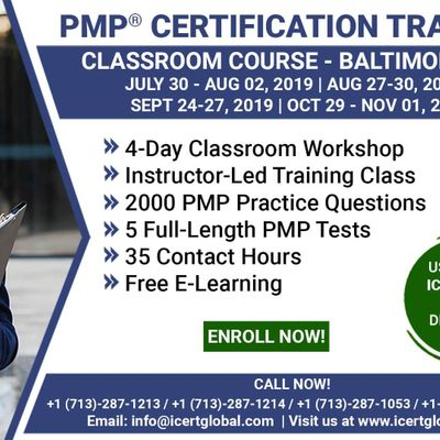 PMP Certification Training Course in Baltimore MD USA  4-Day PMP Boot Camp with PMI Membership Included.