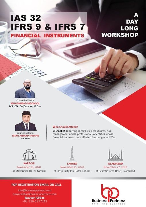 """One Day Workshop on """"IAS 32, IFRS 9 and IFRS 7"""" - Karachi, Lahore & Islamabad, 27 November 