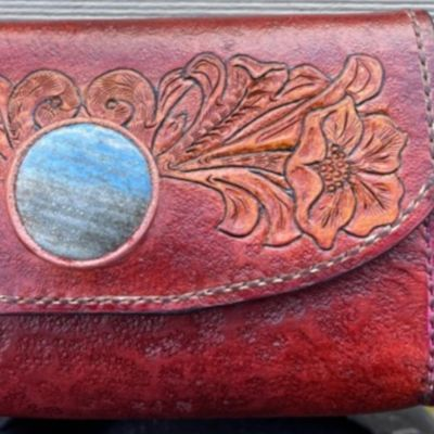 Stone Inlay Leather Purse with Les Williams