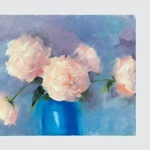 Gentle Peonies - Oil Painting Paint Nite on Zoom