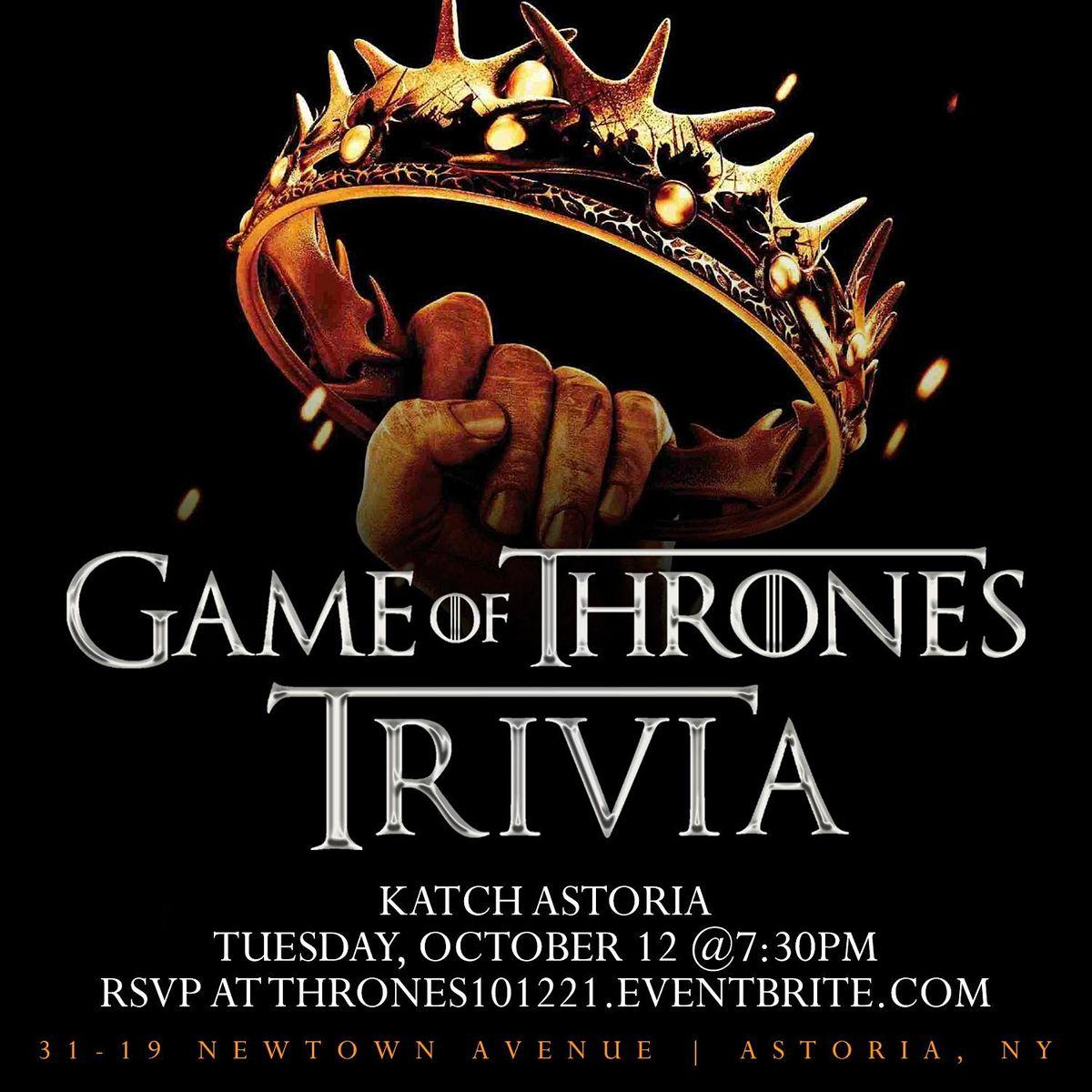 Game of Thrones Trivia, 12 October | Event in Queens | AllEvents.in