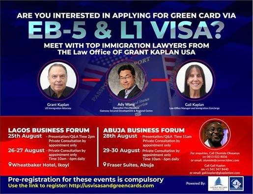 EB-5 & L1 Visa Consultation at The Wheatbaker Lagos, Ile-ife