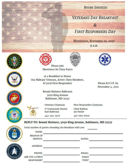 Veteran's Day Breakfast & First Responders' Day, 10 November   Event in Baltimore   AllEvents.in