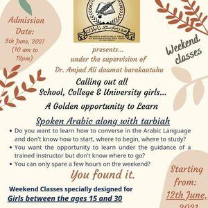 Weekend Classes for Spoken Arabic