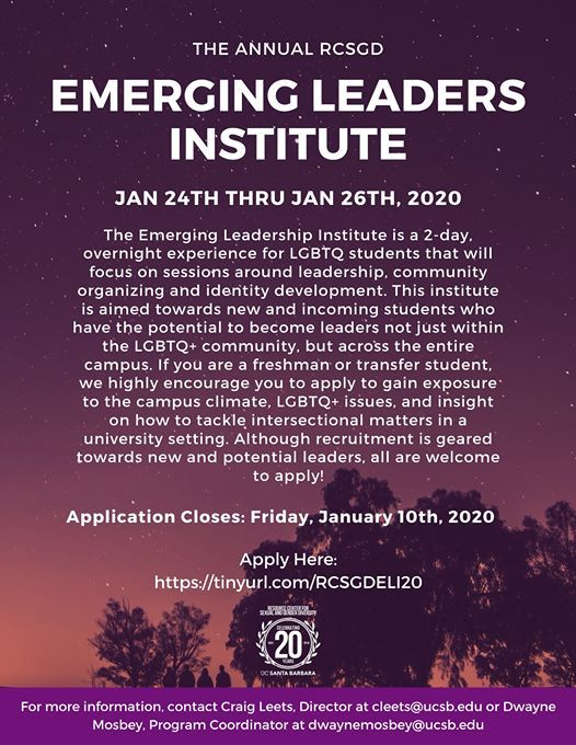 Ucsb Winter 2020.Emerging Leaders Institute 2019 2020 At Ucsb Resource