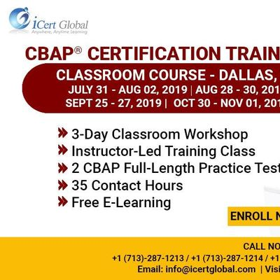 CBAP- (Certified Business Analysis Professional) Certification Training Course in Dallas TX USA.