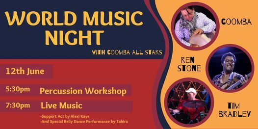 World Music Night: feat. Coomba + Percussion Workshop | Event in Gosford | AllEvents.in
