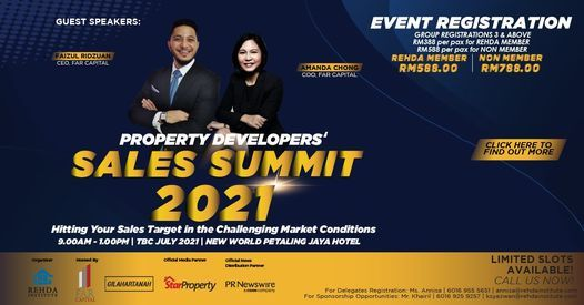 Property Developers Sales Summit 2021   TBC JULY 2021 @ New World Hotel Petaling Jaya, 13 July   Event in Petaling Jaya