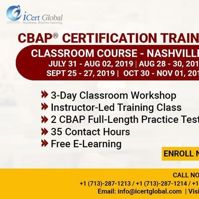 CBAP-Certified Business Analysis Professional Certification Training Course in Nashville TN USA.