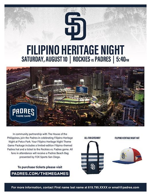 2019 Filipino Heritage Night with the San Diego Padres! at Petco