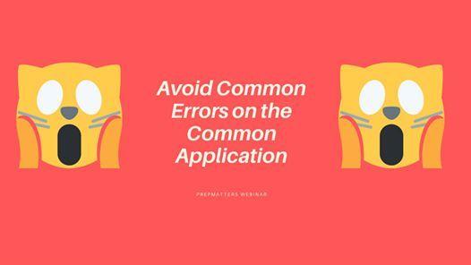 Avoid Common Errors on the Common Application
