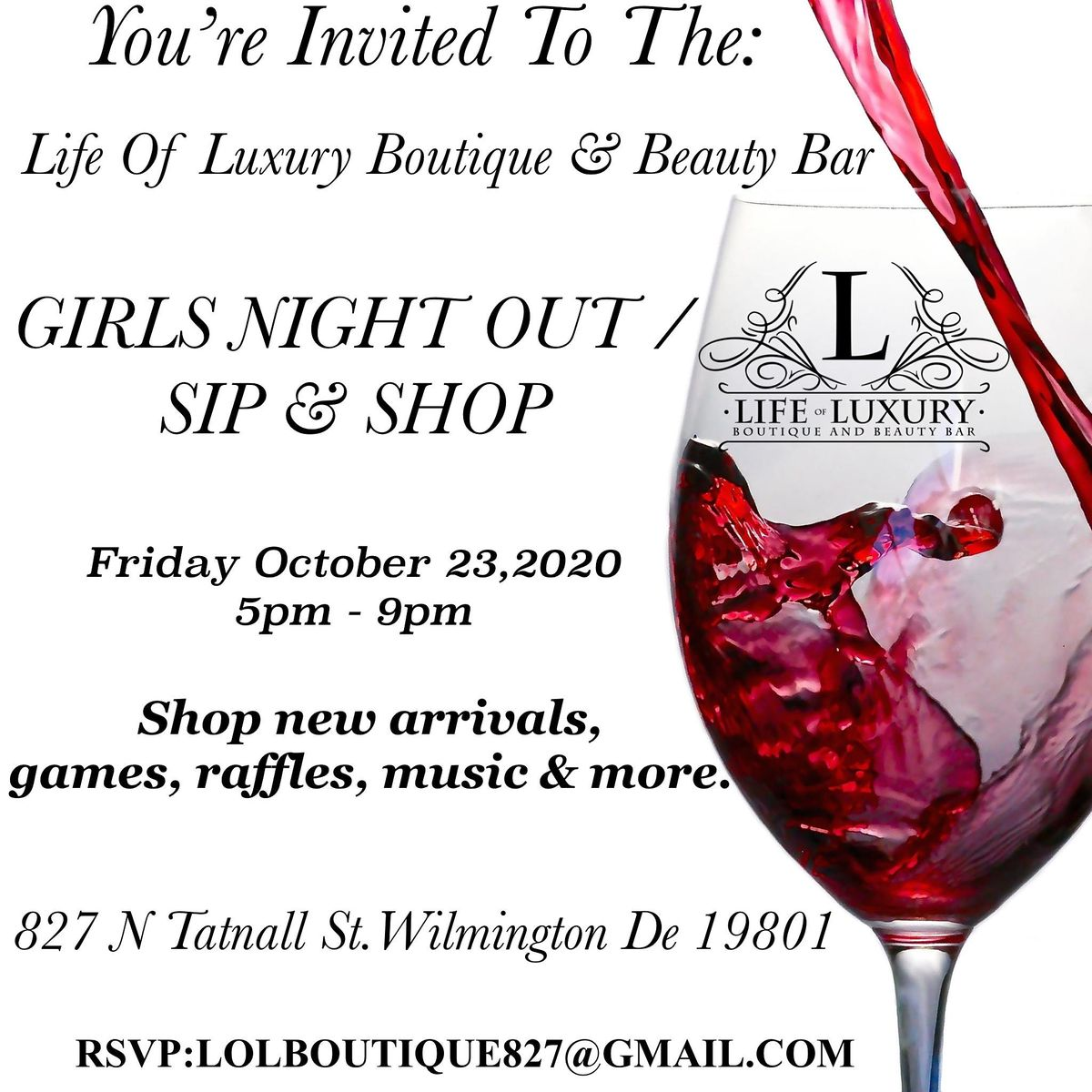 Life Of Luxury Boutique & Beauty Bar Girls Nigh/ Out Sip & Shop | Event in Wilmington | AllEvents.in