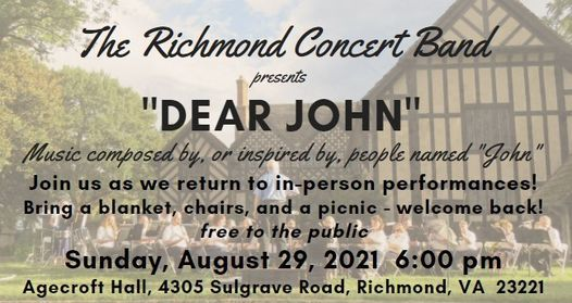 """The RIchmond Concert Band - """"Dear John"""", 29 August   Event in Laurel   AllEvents.in"""