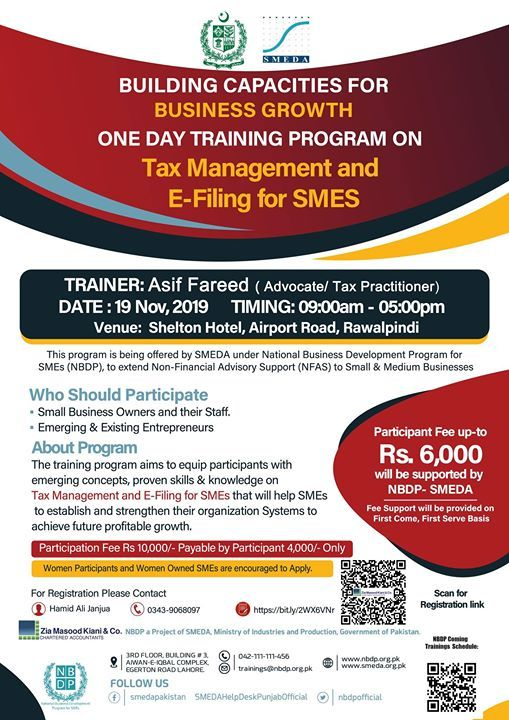 Training on  Tax Management and E-Filing for SMEs Rawalpindi