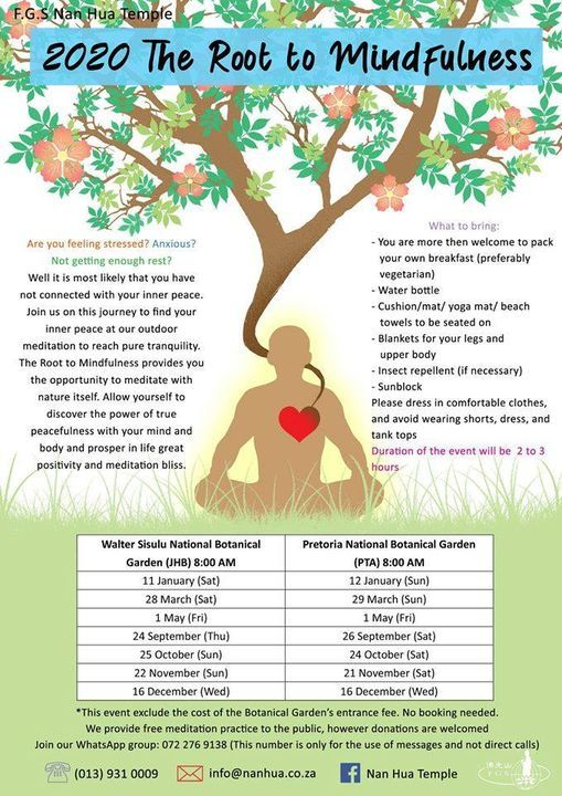 The Root to Mindfulness Outdoor Meditation, 16 December | Event in Pretoria | AllEvents.in