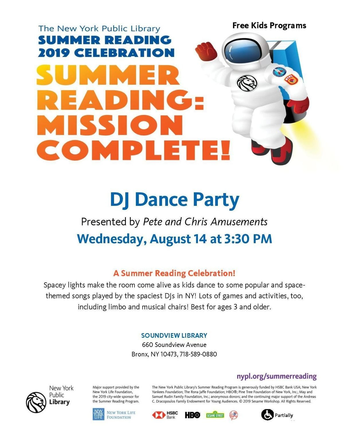Summer Reading 2019 Celebration: DJ Dance Party at Soundview