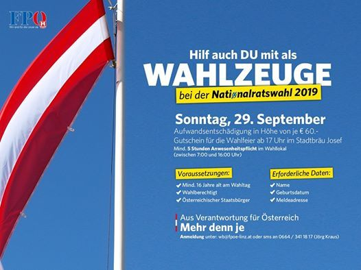 Hilf auch du mit als Wahlzeuge in Linz