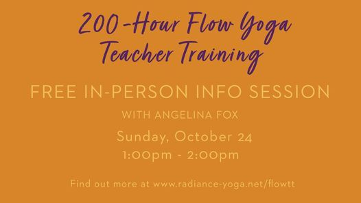 Flow Yoga Teacher Training: Free Info Session, 24 October   Event in Hybla Valley   AllEvents.in